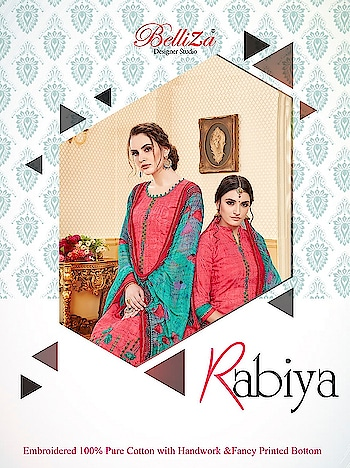 Belliza Rabiya Cotton Printed Patiyala Salwar Suits Online Seller Price per Piece :- ₹650 + ₹33 (GST 5%) MOQ :- 10 Pcs  Top :- Cotton Print  Bottom :- Cotton Print Dupatta :- Nazneen Printed Work :- Printed Upcoming Date :- 27/10/2018 Product link :- https://castillofab.com/belliza-rabiya-wholesale-cotton-salwar-suit-supplier -------------------------------------------------------- Call/whatsapp :- +91 8530 23 23 30 Visit our website :- www.castillofab.com -------------------------------------------------------- #salwarsuits #wholesale #latestsuits #salwarkameez #international #designersalwar #newlaunch #brandedsalwarsuits #suratcollection #indianstyle #weddingwear #bestrate #salwarsuitdesignes #salwarsuitmanufacturer #palazzo #cottonsuits #castillofab