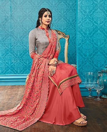 Palazzo Suit Shop on Indiwear.com  Palazzo Suit  Fabric Silk by #Online Shopping On www.indiwear.com #indiwear #palazzosuit #casualdress #diwalidress