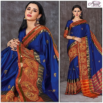 The vibrant and vivid hues of blue and orange have come together along with delicate peacock motifs to make your festive look a remarkable one.  Shop now >> http://bit.ly/2O41GWr   #saree #embroidery #embroiderylove #sareelovers #saree #sareedraping #saree-in-new #weaving #cotton
