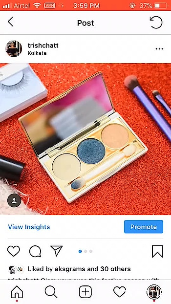 Follow @trishchatt on instagram. Glam your eyes this festive season with @myglamm  3 in 1 primer, Eyeshadow and higlighter palette. . ✅This glides on & blends effortlessly. The shade is very pigmented and the higlighter is to die for. . ✅Loved the packaging, it's very premium, sleek and so so beautifully crafted golden and white color. . ✅I chose Picture Perfect as my diwali shade to create some nice blue smoky eyes.👀 . Price on bit higher side but worth it. . 💵 1195/- . ✅Available @mynykaa @amazondotin @myglamm . ✅Shade: Picture Perfect . . . . . . . . . . . . . . . #fashonictrishaa #myglamm #beautyblogger #fashionblogger #travelblogger #eyeshadow #blue #primer #highlighter #makeup #vlogger #kolkatablogger #influencer #influencerindia #contentcreator #indianblogger #nikond5300
