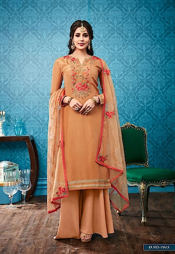 Palazzo Suit Fabric Silk by indiwear.com #onlineshopping in www.indiwear.com #indiwear #palazzosuit #casualdress