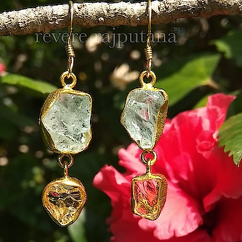 personal style statement-Uncut gemstone earrings..Citrine & Aquamarine ❤️ #reverelove DM or email at care@revere.co.in  #revere #ropo-beauty #earringsale #creativespace #gemstone #designer #gems #uncut #photography #uncutjewellery #style #beauty #citrine #aquamarine #indianwear #earrings #kundanjewellery #fashionblogger #goldplatedearrings #celebrityfashion #celebritystyle #polki #bangles #befashionable