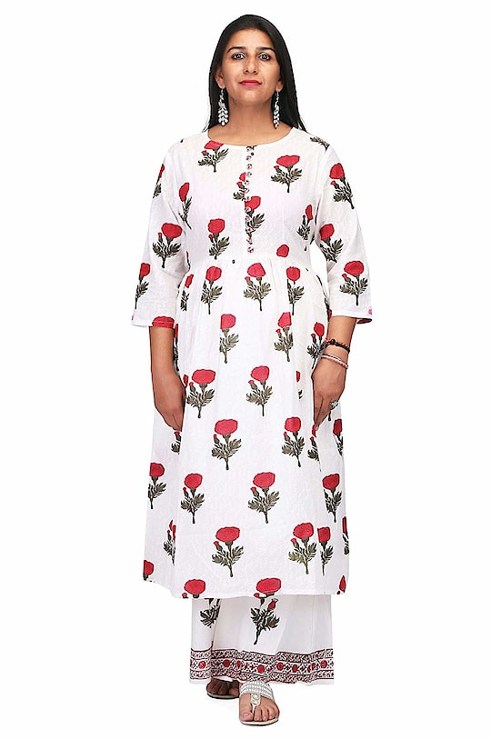 """CHARITRA VIC Party Wear Printed Kurti for Women/Girls  Model (height-5'8"""") is wearing size S. Care instructions: -machine wash with like colours, low warm iron if needed Neck Type: Round Neck; Sleeve Type: 3/4 Sleeve; Item Length: Knee Long Package Contents: 1 Women Kurti To buy click on this link:-https://www.amazon.in/dp/B07G9CN4PK  #kurti #ladieskurti #suit #womenkurti"""