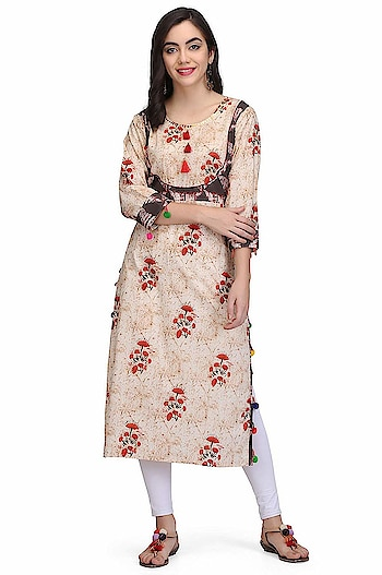 """Charitra VIC Printed Women's Cotton Kurti Model (height-5'8"""") is wearing size S. Care instructions: -machine wash with like colours, low warm iron if needed Neck Type: Round Neck; Sleeve Type: 3/4 Sleeve; Item Length: Knee Long Package Contents: 1 Women Kurti  To buy click on this link:- https://www.amazon.in/dp/B07G9BWJXY  #kurti #ladieskurti #suit #womenkurti"""
