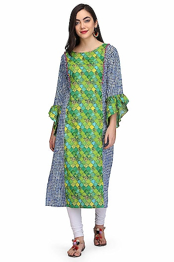 """VICVIM Women's Printed Straight Cotton Kurta Model (height-5'8"""") is wearing size S. Care instructions: -machine wash with like colours, low warm iron if needed Neck Type: Round Neck; Sleeve Type: 3/4 Sleeve; Item Length: Knee Long Package Contents: 1 Women Kurti  To buy click on this link:- https://www.amazon.in/dp/B07G9DBK9N  #kurti #ladieskurti #suit #womenkurti"""