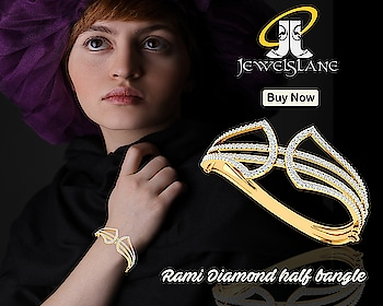 Rami diamond half #bangle set in #hallmarked #18kgold studded with 200 round brilliant cut #diamonds from #Jewelslane. Know More - https://goo.gl/PqrrNZ