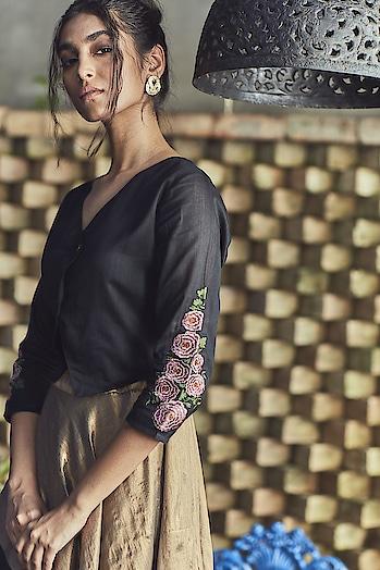 Black Embroidered Jacket   Now : ₹1,119    Shop now >> http://bit.ly/2Qi7i0T  #jacket #half-jacket #embroideredjacket #westernwear #ethicalfashion #contemporary #jacketstyle #jacketlove #onlineshopping