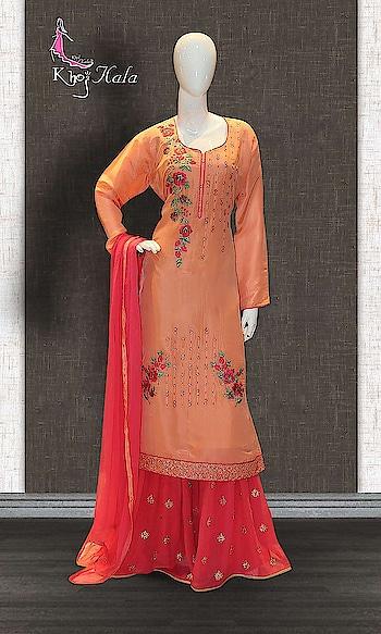 Orange Uppada Sharara Suit  http://www.khojkaladesign.com/sharara/orange-uppada-sharara-suit-17608.html  SKU: KHOJ9134 ₹4,720  #fancysuitsdesigner #fancysuits #sharara  #womenfashion #indianfashion #bollywoodfashion #bollywooddresses #weddindsuit #actressfashion #celebrityfashion #fashionista #khojkala