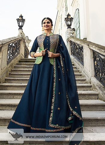 Ravishing Navy Blue & Green Art Silk Gown With Stone Work   To order or enquire, Call or WhatsApp @ +91-885-135-6382 (US) +1-302-261-9333 #IndianWedding #WeddingInspiration #Lehenga #FashionBlogger #IndianBride #WeddingDayPhoto #madetoorderoutfits #ethnicwearonline #custommadedresses #Dupatta #Zariwork #onlinestoreinindia #customizedoutfits