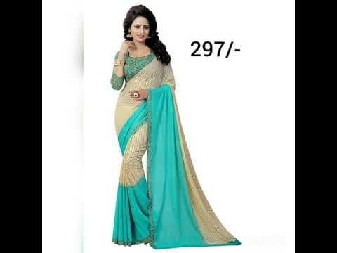 #saree-georgette  Kanchan KSH Trendz Women's Georgette and Crepe Blend Saree with Blouse Piece / silk saree /saree