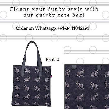 Here's a beautiful surprise out of the darkness of the night. Rows of elephants decorate the composition. Look closer and the elephants seem to be dancing on geometric pattern all over the canvas. Meanwhile, the black faux leather sling handles make it easy to carry this bag with all your essentials. Day or night, this unisex tote bag goes with all occasions and simply makes for a beautiful gift too.  #totebag #canvasbag #sikar #designerbag #onlineshopping #buyonline #fashion #handbags #designerproducts #bagslover #indiandesigner #instafashion #instastyle #bags #Womens #canvastotebag #jaipur #streetstyle #fashionista #quirkyfashion     https://www.fatfatiya.in/bags/quirky-tote-bags/ele-in-the-night-tote-bag.html https://www.fatfatiya.in/bags/quirky-tote-bags.html https://www.fatfatiya.in/