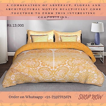 Inspired from magnificent jaalis and architecture, here's a refined and delicate design for your bedroom. A combination of abstract, floral and architectural motifs beautifully come together to form this interesting composition. In shades of white, yellow and beige, it adds lightness to the décor. The 5-piece king size quilted bedspread is designed in 100% cotton century that is as soft as a cloud when laid over the mattress.  #Quilted #Bedspread #bedcover #bedsheet #duvet #hawamahal #jaipur #bedroom #interior #Fatfatiya #Taxi #buyonline #shekhawati #contemporary #design #decor #interior #interiordesign #homefurnishingindia #homedesign #homedecor #homestyle #interiorinspiration #interiorstyle #interiorlovers #interior4all #interiorforyou #interiordecor #interiordesignideas