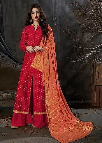 Get a Stunning Look in this Beautiful #Red and #Orange Party Wear Straight Cut #palazzostyle Suit with #Banarasidupatta available @ https://goo.gl/4JueqX #newarrival #SalwarSuit #BuyOnline #OnlineShopping #sneakpeek #golden #indiandesigner #bollywoodfashion #ShopNow #Surat #mUmbai #India #USA #unitedstates #Canada #Australia #Dubai #UAE #Mauritius #London #Uk