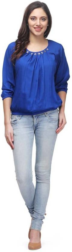 PRINTEMPS Casual 3/4th Sleeve Solid Women's Blue Top  Round Neck, 3/4th Sleeve Fabric: Viscose Pattern: Solid Type: Top Pack of 1  #women #clothing #top #kurti #designer #womenskurti #fashionable #stylish #trendy #womensfashion #womenskurti #womenstop #printed   Buy Now:- https://bit.ly/2PW99eT