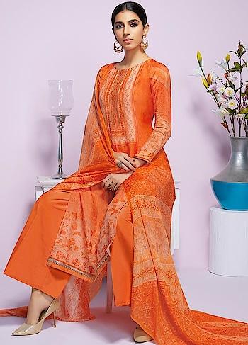 Be Warm and Stylish in this Beautiful #orange #Pashmina Straight Cut Suit available @ https://goo.gl/4TMeoy #newarrival #winterfashion #winterwear #digitalprinted #Digitalprint #jinaam #fashion #sneakpeek #shopnow #Surat #mUmbai #India #USA #unitedstates #Canada #Australia #Dubai #UAE #Mauritius #London #Uk