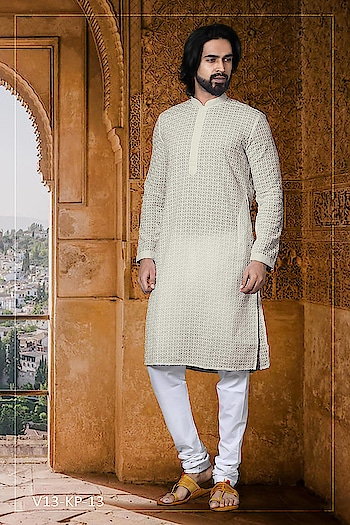 #Vivah Collection # Kurta With #OffwhiteBottom #chikankurta #Indianlook #lookgoodfeelgood #betraditional #whiteloverforever #forRich & #RoyalLook to Know more details whatsapp on 919820936178