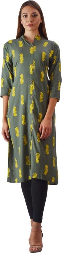 SWABHA Women Printed Frontslit Kurta  (Green)  Fabric: Cotton Occasion: Casual Pattern: Printed Color: Green Sleeve Length: 3/4 Sleeve Style: Frontslit  Buy Now :- https://bit.ly/2Q4XaMd