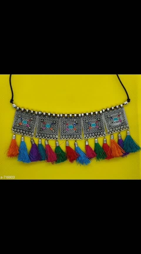 Glitzy Carved Oxidised Choker Necklaces Vol 1 Material: Oxidized  Size: Free Size  Description: It Has 1 Piece Of Choker Necklace  Work: Embellished  Dispatch: 2 - 3 Days