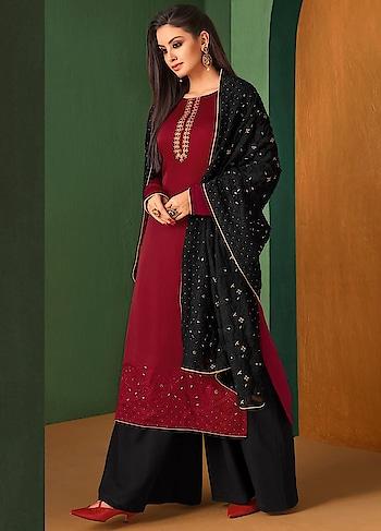 Add spring to your step dressed in these ultra comfortable #Black and #Red #palazzostyle dress available @ https://goo.gl/xuQnL3 #newarrival #lucknowidupatta #SalwarSuit #BuyOnline #OnlineShopping #sneakpeek #golden #indiandesigner #bollywoodfashion #ShopNow #Surat #mUmbai #India #USA #unitedstates #Canada #Australia #Dubai #UAE #Mauritius #London #Uk