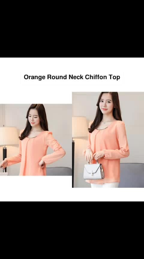 Orange Round Neck Chiffon Top - - #fashion #style #stylish #love #photography #instapic #me #cute #photooftheday #nails #hair #beauty #beautiful #instagood #pretty #swag #pink #girl #eyes #design #model #dress #shoes #heels #styles #outfit #purse #jewelry #shopping