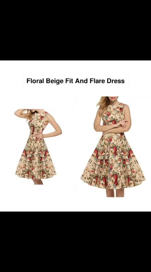 Floral Beige Fit And Flare Dress -- #fashion #style #stylish #love #photography #instapic #me #cute #photooftheday #nails #hair #beauty #beautiful #instagood #pretty #swag #pink #girl #eyes #design #model #dress #shoes #heels #styles #outfit #purse #jewelry #shopping
