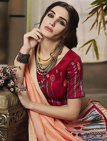 Designer Saree Fabric Jaccquard Fancy Fabric With Embroidery Work by indiwear.com #onlineshopping in www.indiwear.com #indiwear #saree #festivesaree #partywearsaree