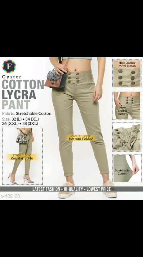 Designer Women's Pant Fabric: Cotton Lycra 