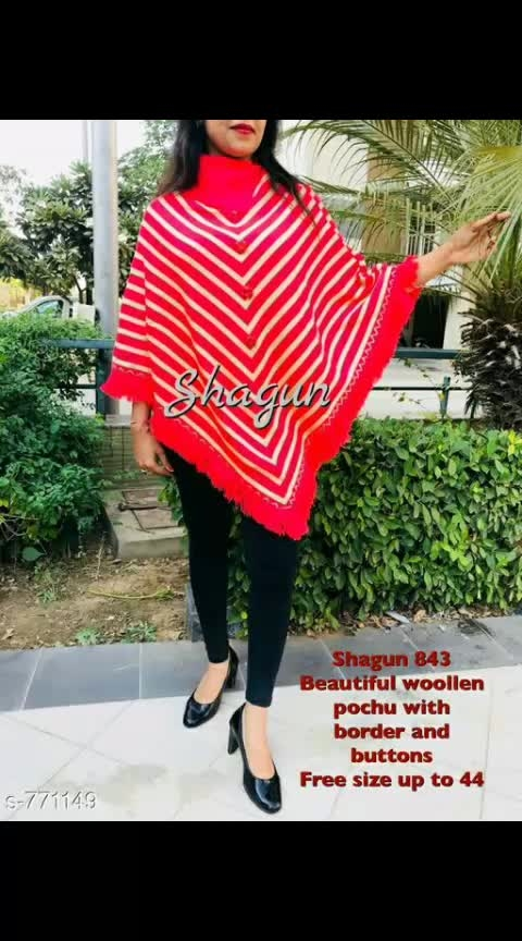 *Stylish Woolen Pouch With Brooch*  Fabric: Woolen Sleeves: 3/4 Sleeves Are Included Size: Up To 36 in To 44 in (Free size) Length: Up To 36 in  1125 Only #woolen #pouches #broaches #shopwithus #cashondelivery #thebazaar #followusonroposo