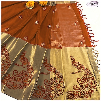 A perfect traditional wear to upgrade you haldi look is this soothing rust orange drape, embroidered with vibrant peacock motifs and intricate buta work.  Shop now >> http://bit.ly/2DRP4AN   #haldiceremony #weddingsaree #embroidery #saree #designer-saree #pallu #sareecollection  #indianwear #cottonsaree