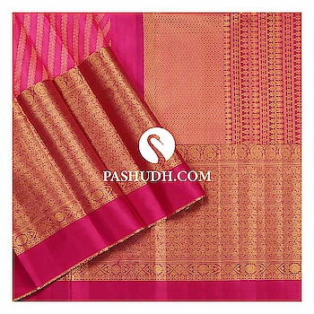 Pink Kanjivaram Saree with Traditional Broad Zari Border * 252719  For more information on this saree, search the code : 252719 on our website  www.pashudh.com  Back on sale due to popular demand is our authentic pink kanjivaram saree . Having won many hearts over with its silk stripes and broad zari, this saree also gives a modern edge you need for your wardrobe.  #indiantraditionalwear #handwoven #kanjeevaram #kanjeevaramsaree #kanjeevaramsilk #india #fashion #contra #kanjivaramsilks #sareetime #weddingsilks #handloomindia #puresilksarees #silksofindia #southindiansilksarees #onlinesilksaree #sareesofinstagram #kanjivaramsilks #ethnic #kanjivaram #elegance