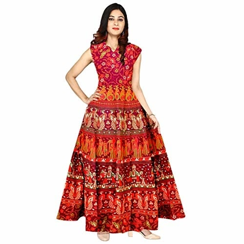Silver Organisation Women Cotton Jaipuri Printed #Maxi Long #Dress @ Rs.399. Buy Now at http://bit.ly/2Bret20