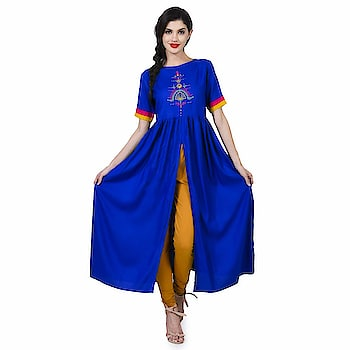 Elenora Women's Designer Frontslit Kurta  Pattern: Embroidery Fabric: Rayon Type: Front Slit Product Detail: 100% Original Products Model Information: The model (height 5'8'') is wearing a size XS  Buy Now :- https://amzn.to/2DBoGuh