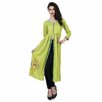 Elenora Women's Designer Frontslit Kurta  Pattern: Embroidery Fabric: Rayon Type: Front Slit Product Detail: 100% Original Products Model Information: The model (height 5'8'') is wearing a size XS  Buy Now :- https://amzn.to/2r2NtQv