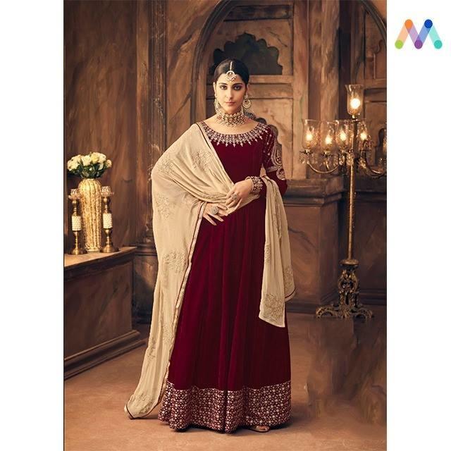 Keep it Royal and Simple ! Grab this stunning party wear #maroon #velvet #Anarkali available @ https://goo.gl/yZ5Nrm #newarrival #SalwarSuit #BuyOnline #OnlineShopping #sneakpeek #golden #indiandesigner #bollywoodfashion #ShopNow #Surat #mUmbai #India #USA #unitedstates #Canada #Australia #Dubai #UAE #Mauritius #London. #Uk