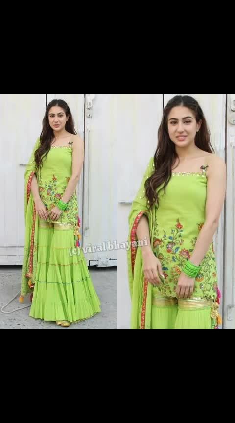 Sara Ali Khan #kedarnath #sushantsinghrajput #saraalikhan #saifalikhan #green #suit #slaying #goals #beauty