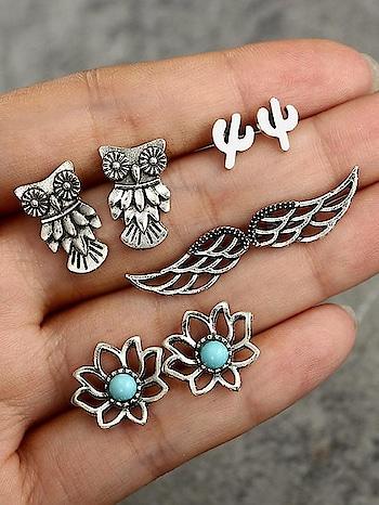 . #earrings #owl #wing #silver #indian #jewelry #weddingjewelry #choker #statementjewelry #ethnicjewellery #statementjewellery #bollywoodjewellery #bridaljewelry #indianwear #ethnic #saree #partywear  #germansilverjewellery #indiandesigner #internationalshipping #tikka #neckpiece #onlineshopping #southindianjewelry #oxidisedjewellery #fashionblogger