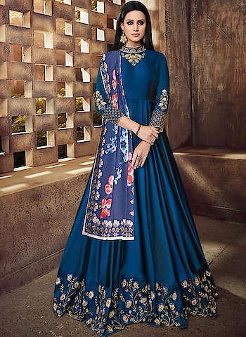 Designer Long Anarkali Dress Fabric Satin , Silk By indiwear.com #onlineshopping in www.indiwear.com #indiwear #anarkalidress #partyweardress #festivedress
