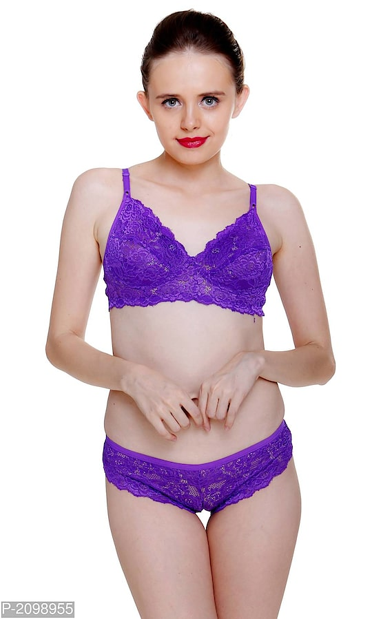 PURPLE KATTY LACE BRA & PANTY SET FOR WOMENS   PRODUCT DETAILS Color: Purple Fabric: Nylon Type: Bra & Panty Set Style: Solid  SHIPPING & DELIVERY Shipping Charges: FREE Delivery: Within 6-8 business days SIZE CHART FOR PURPLE KATTY LACE BRA & PANTY SET FOR WOMENS SizeBust  (inches)Waist  (inches) 30B30.030.0 32B32.032.0 34B34.034.0 36B36.036.0 38B38.038.0 40B40.040.0