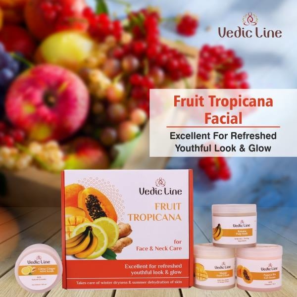 Vedicline Fruit Tropicana is based on the #Ayurvedic concept of using #fruits for removing Ama (toxins) so that #Tridoshas get balanced and life energy moves more effectively in the body. Vedicline fruit cosmetics contain a variety of #fruit acids (alpha hydroxy acids aha) and fruit extracts for #rejuvenation of skin.  Shop Here: https://bit.ly/FruitTropicanaFacial  <3 Benefits <3  ✔️ Helps in the growth of new and healthy skin cells. ✔️ Excellent for refreshed youthful look & glow. ✔️ Lovely fragrance helps in reducing stress and dullness. ✔️ Removes dullness and brightens up face.  #SkincareRegime #AyurvedicFacial #Vedicline #EssentialAyurveda #GlowingSkin #AyurvedicTreatment #SkincareMustHaves #NaturalIngredients #FruitTropicanaFacial #BeautyCare #CosmeticsProducts #crueltyfree #Musthaves