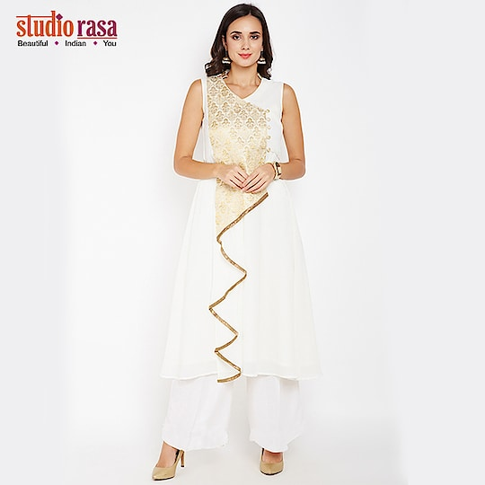 Look ravishingly beautiful by wearing this faux georgette waterfall kurta. Complete the look by pairing it with matching palazzos or a churidar.  https://bit.ly/2rtUqKF  #9rasa #studiorasa #outfits #occasion #occasionwear #contemporary #ethnic #embroidered #like #share #followme #festival #wedding #season #weddingseason #trendy #green #shadesofgreen #newarrivals #waterfall