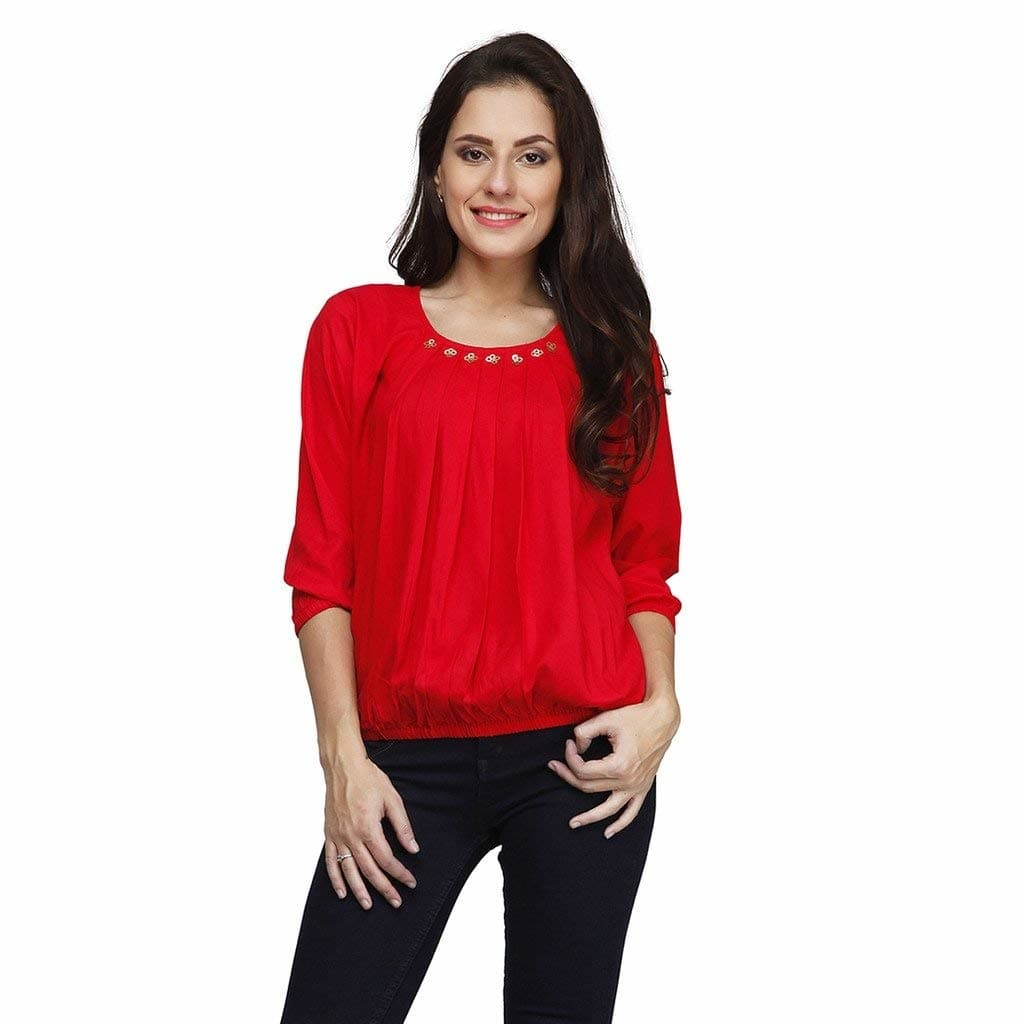 PRINTEMPS Stylish Latest Casual 3/4 Sleeve Solid Red Designer Womens Top & Girls  Materiel::Viscose womens top Occasion: Casual Top Color : Red Pattern: Solid Wash Care:- Dry clean & Hand wash in cold water  #women #clothing #designer #stylish #printed #fashionable #womensfashion #fashion #trendy #top #kurti #comfortable #womenskurti #long #womenstop #short #uniquedesign   Buy Now:- https://amzn.to/2ATPmn6
