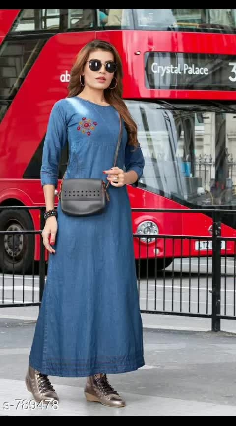 Stylish Denim Women's Kurti Fabric: Denim Sleeves: 3/4 Sleeves Are Included Size: S - 36 in, M - 38 in, L -  40 in, XL - 42 in, 2XL - 44 in Length: Up To 49 in Work: Embroidery #denimkurti #denimkurtis #embroiderywork #embroideredwork #shopwithus #buyitnow #thebazaar #cashondelivery #followusonroposo