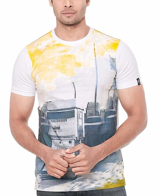 WHITE PRINTED COTTON TEES   PRODUCT DETAILS Color: White Fabric: Cotton Type: Tees Style: Printed  SHIPPING & DELIVERY Shipping Charges: FREE Delivery: Within 6-8 business days SIZE CHART FOR WHITE PRINTED COTTON TEES Size	Chest  (inches) S	37.0 M	39.0 L	41.0 XL	43.0 2XL	45.0