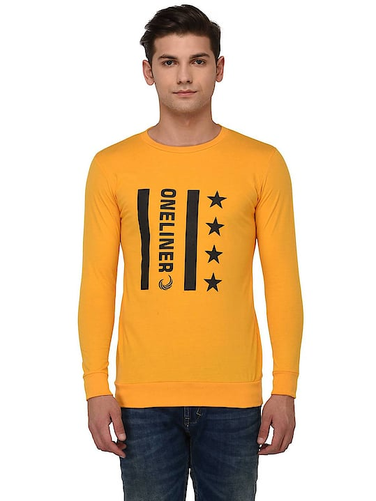 YELLOW CASUAL ROUND NECK T- SHIRT FOR MEN  PRODUCT DETAILS Color: Yellow Fabric: Cotton Type: Tees  SHIPPING & DELIVERY Shipping Charges: FREE Delivery: Within 6-8 business days SIZE CHART FOR YELLOW CASUAL ROUND NECK T- SHIRT FOR MEN Size	Chest  (inches) M	40.0 L	42.0 XL	44.0 2XL	46.0 3XL	48.0 4XL	50.0 5XL	52.0