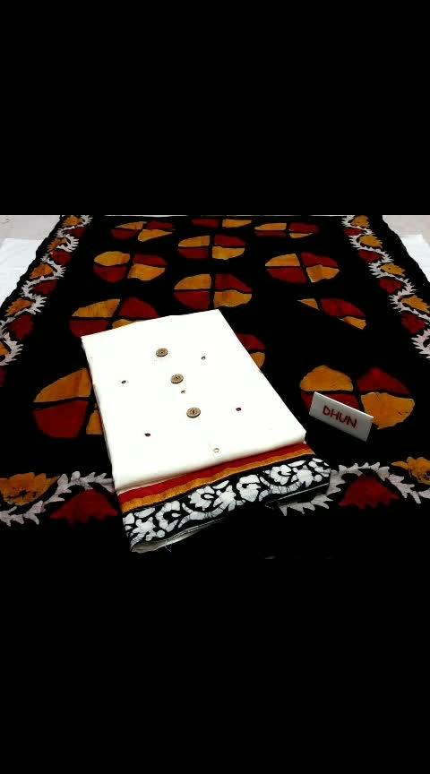 *Wax batiq chakra* 💢  Rs.935+ship Top: Cotton slub mirror handwork with batiq Daman Bottom: Cotton Dupatta:Wax batiq chakra