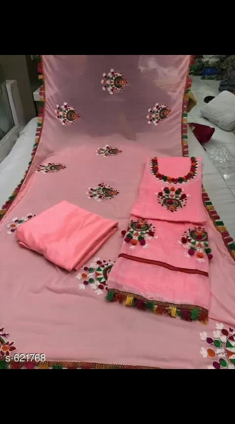 Glamorous Chanderi Silk Embroidered Suit *TOP* : Chanderi Silk + Embroidered and Pom Pom Work ( Bust- Up To 48 in )  *INNER* : Santoon + Solid ( 2 Mtr)  *BOTTOM* : Santoon + Solid ( 2 Mtr)  *DUPATTA* : Santoon + Embroidered and Pom Pom Work ( 2 Mtr)  *TYPE* :  Semi-Stitched *COLOUR* : Multi Colour *CONTAINS* : 1 TOP, 1 BOTTOM & 1 DUPATTA #silksuit #chanderisilk_suit #embroidered #embroideredwork #semi-stitched #semistitched #multi-colour #shopwithus #buyitnow #thebazaar #cashondelivery #followusonroposo