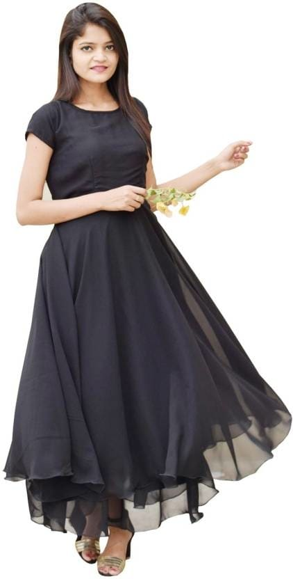 Rajkumari Women Maxi Black Dress  Length: Maxi/Full Length Fabric: Georgette Occasion: Party  Buy Now:- https://bit.ly/2QrBrPM