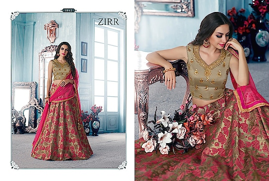 Fabric:- Jacquard #lehenga  Blouse Fabric:- Strawberry Silk Dupatta:- Net  Price:- Rs 2999 (Shipping Free All Over India)  Whats App +91 7621863000