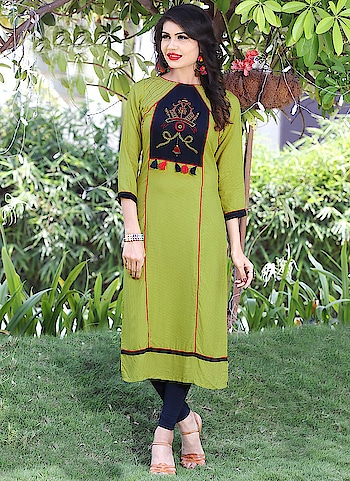 "Fabric :- 14 Kg Heavy Rayon Work :- Hand Embroidery Size :- 40"",42""  Buy Now :- https://tinyurl.com/y7cysrlj  Whats App :- +91 7621863000  #kurti #partywear #designer #casualwear #indianwear"
