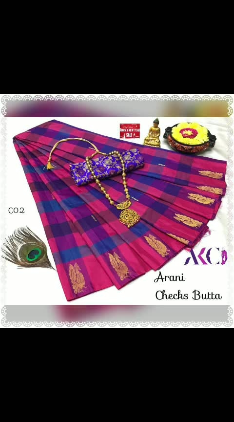 """🎊🎉🎊Gift ur loved ones for this festival of X-mas 🙏🏻 with our *AKC's Market Hit Premium Quality """"Arani Checks Butta Saree"""" & """"Kovai Paalum Pazhamum Saree""""*😊🎊🎉🎊  🎉❄ *Restocked On Demand*❄🎉    🎅🏻Note : *Arani Checks Butta Saree is exclusively weaved with Thread motifs in border and normal small butta all over Saree with normal lines pallu C01-C25*😍  🎅🏻Note: *Kovai Paalum Pazhamum Sarees are weaved with Zari Border and Coin Butta all over Saree with Grand Pallu of Peacock and Floral Motifs from K01-K04*😍  These sarees are designed with vibrant color combinations for our silk lovers as its suitable for all occasions😘 💥 *Xmas Dhamaka Special offer* 💥 *🎅🏻Note* : *Free shipping All Over India and Jacquard blouse worth 120rs is free gift AKC Sarees*😍 🌹Multiples ava book urs soon hurry up dears📡"""